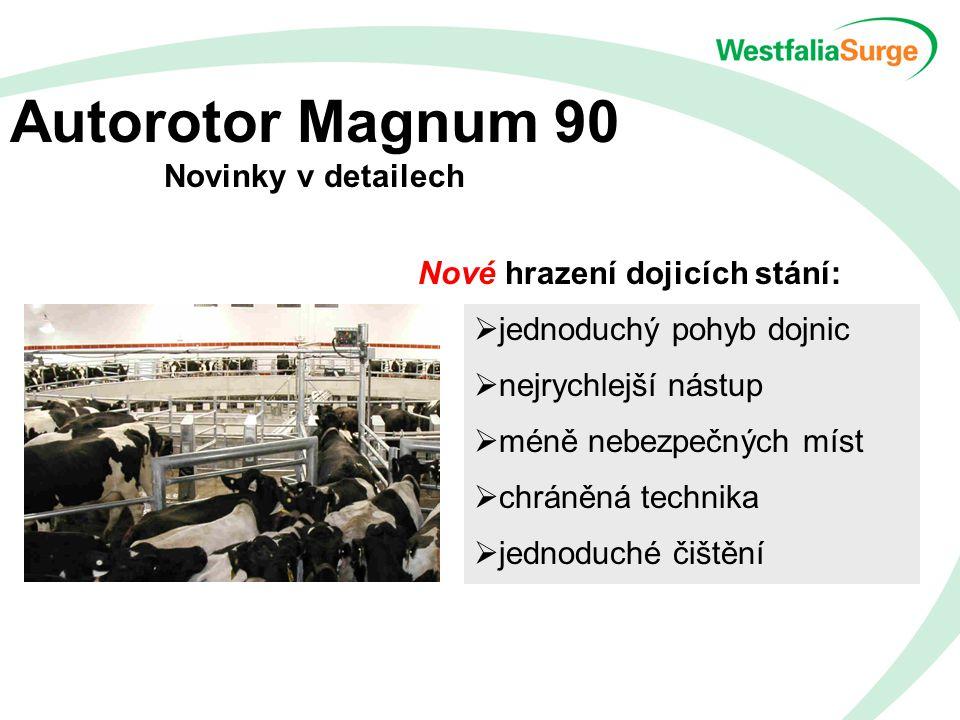 Autorotor Magnum 90 Novinky v detailech Nové hrazení dojicích stání:  jednoduchý pohyb dojnic  nejrychlejší nástup  méně nebezpečných míst  chráněná technika  jednoduché čištění