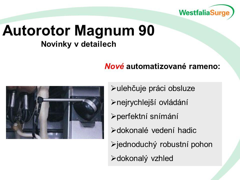 Autorotor Magnum 90 Novinky v detailech Nové automatizované rameno:  ulehčuje práci obsluze  nejrychlejší ovládání  perfektní snímání  dokonalé vedení hadic  jednoduchý robustní pohon  dokonalý vzhled