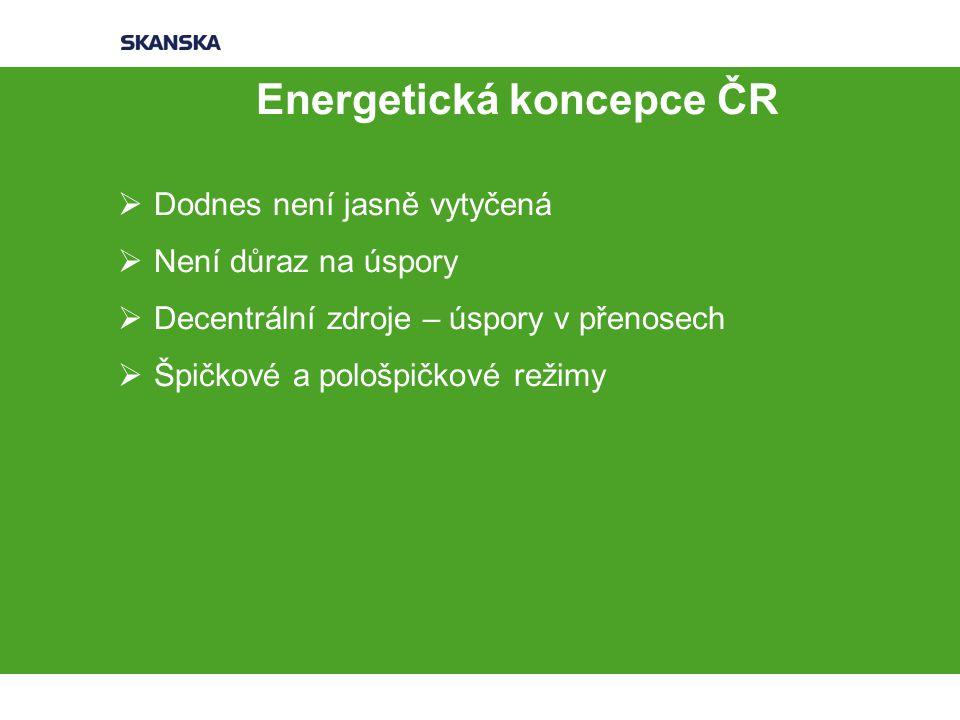 Energetická koncepce ČR  Dodnes není jasně vytyčená  Není důraz na úspory  Decentrální zdroje – úspory v přenosech  Špičkové a pološpičkové režimy