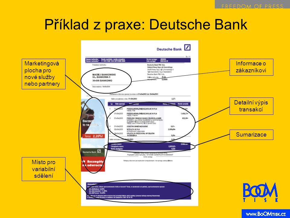 Informace o zákazníkovi Detailní výpis transakcí Marketingová plocha pro nové služby nebo partnery Příklad z praxe: Deutsche Bank SumarizaceMísto pro