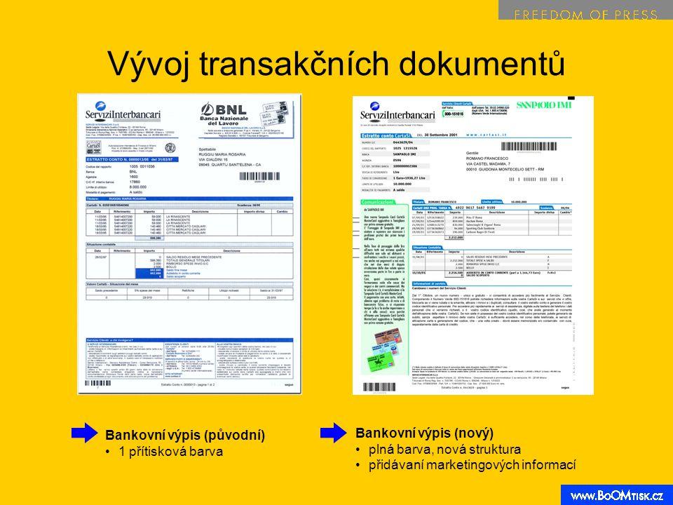 Vývoj transakčních dokumentů Bankovní výpis (původní) 1 přítisková barva Bankovní výpis (nový) plná barva, nová struktura přidávaní marketingových inf