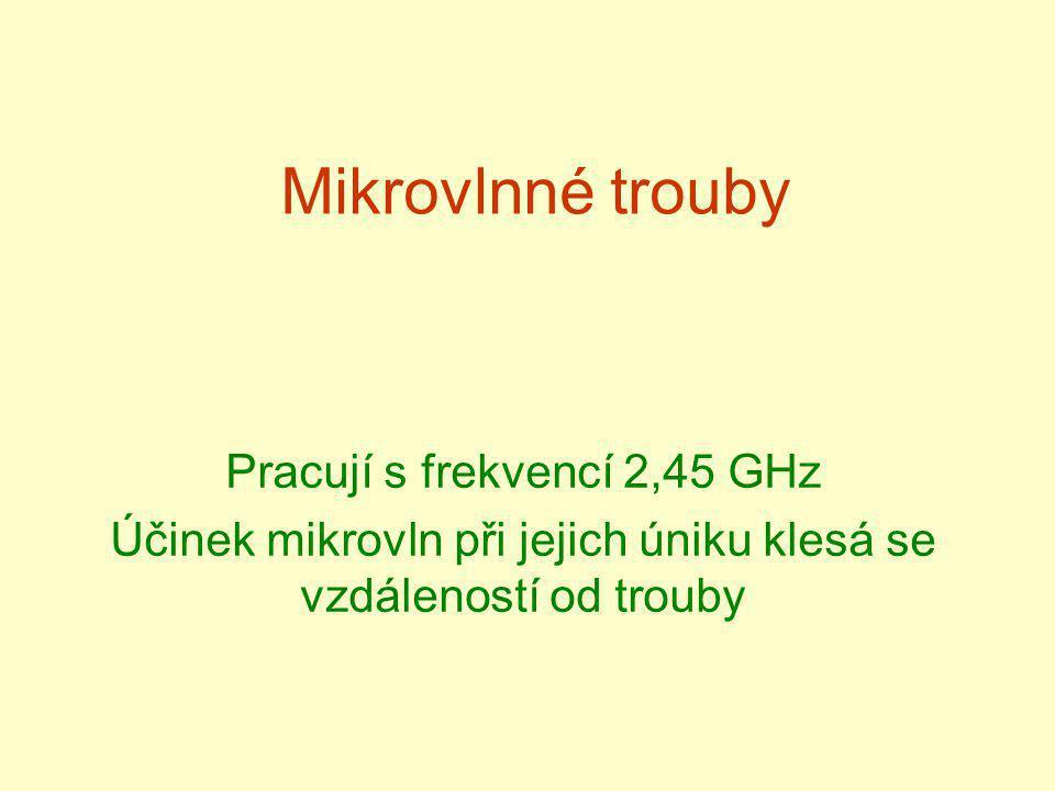 Mikrovlnné trouby Pracují s frekvencí 2,45 GHz Účinek mikrovln při jejich úniku klesá se vzdáleností od trouby
