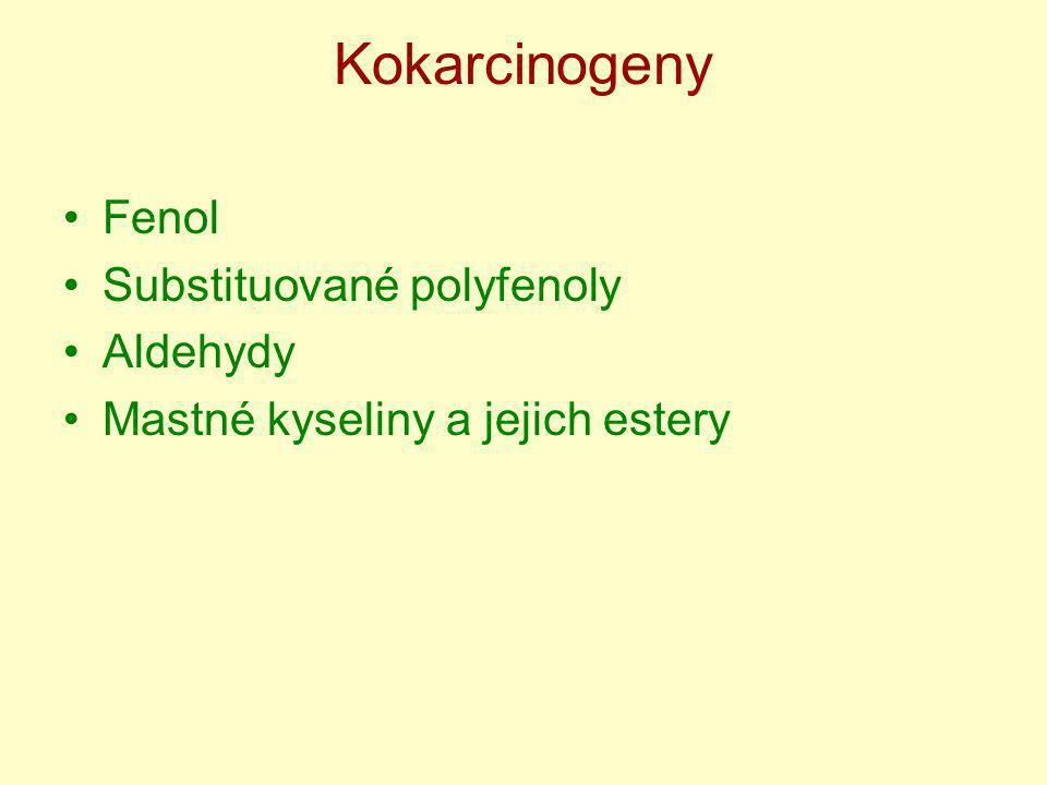 Kokarcinogeny Fenol Substituované polyfenoly Aldehydy Mastné kyseliny a jejich estery