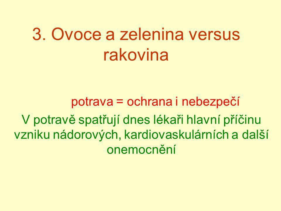 3. Ovoce a zelenina versus rakovina potrava = ochrana i nebezpečí V potravě spatřují dnes lékaři hlavní příčinu vzniku nádorových, kardiovaskulárních