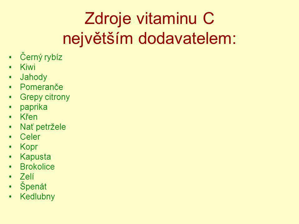 Zdroje vitaminu C největším dodavatelem: Černý rybíz Kiwi Jahody Pomeranče Grepy citrony paprika Křen Nať petržele Celer Kopr Kapusta Brokolice Zelí Š