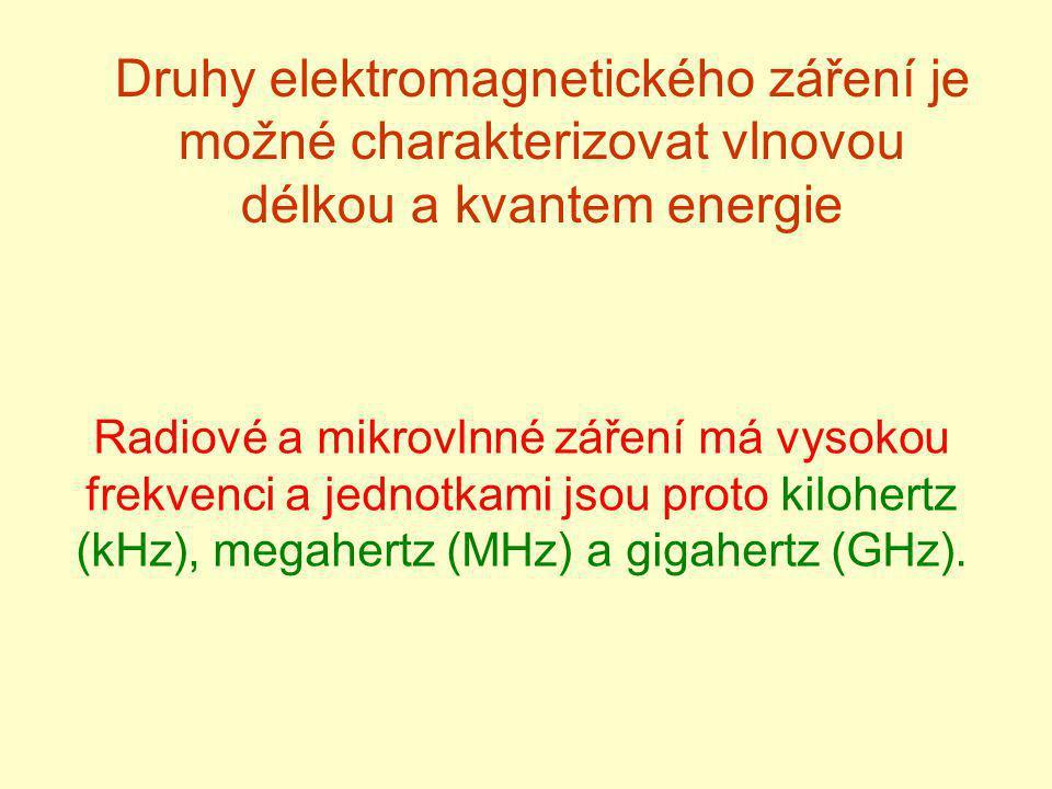 Druhy elektromagnetického záření je možné charakterizovat vlnovou délkou a kvantem energie Radiové a mikrovlnné záření má vysokou frekvenci a jednotka