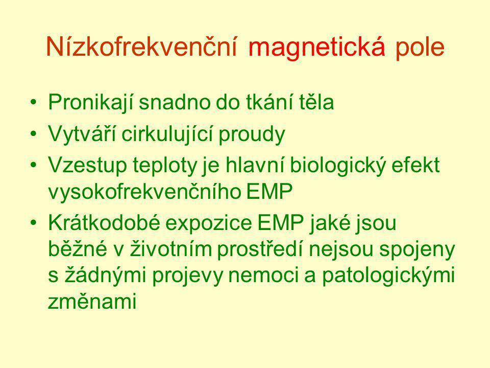 Nízkofrekvenční magnetická pole Pronikají snadno do tkání těla Vytváří cirkulující proudy Vzestup teploty je hlavní biologický efekt vysokofrekvenčníh