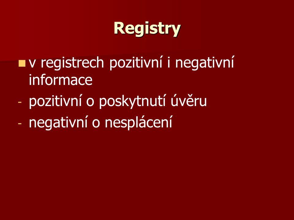 Registry v registrech pozitivní i negativní informace - - pozitivní o poskytnutí úvěru - - negativní o nesplácení