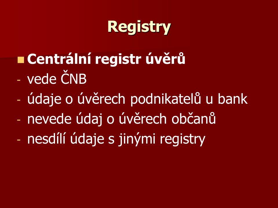 Registry Centrální registr úvěrů - - vede ČNB - - údaje o úvěrech podnikatelů u bank - - nevede údaj o úvěrech občanů - - nesdílí údaje s jinými registry