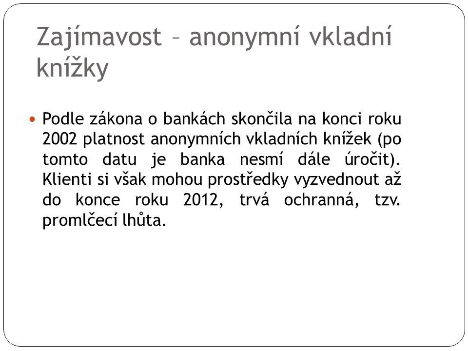 Zajímavost – anonymní vkladní knížky Podle zákona o bankách skončila na konci roku 2002 platnost anonymních vkladních knížek (po tomto datu je banka nesmí dále úročit).