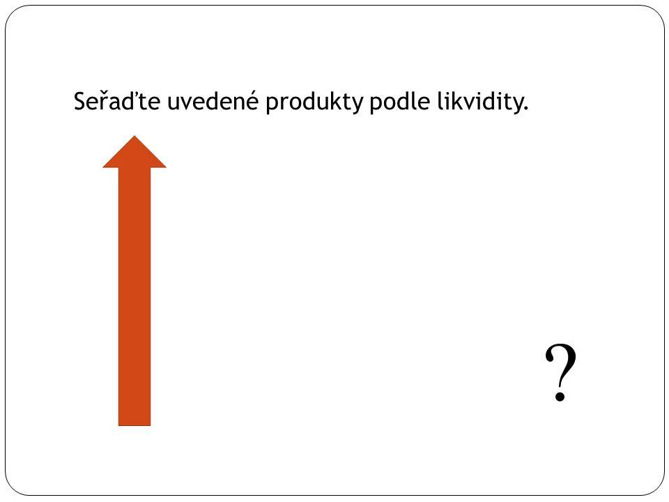 Seřaďte uvedené produkty podle likvidity.