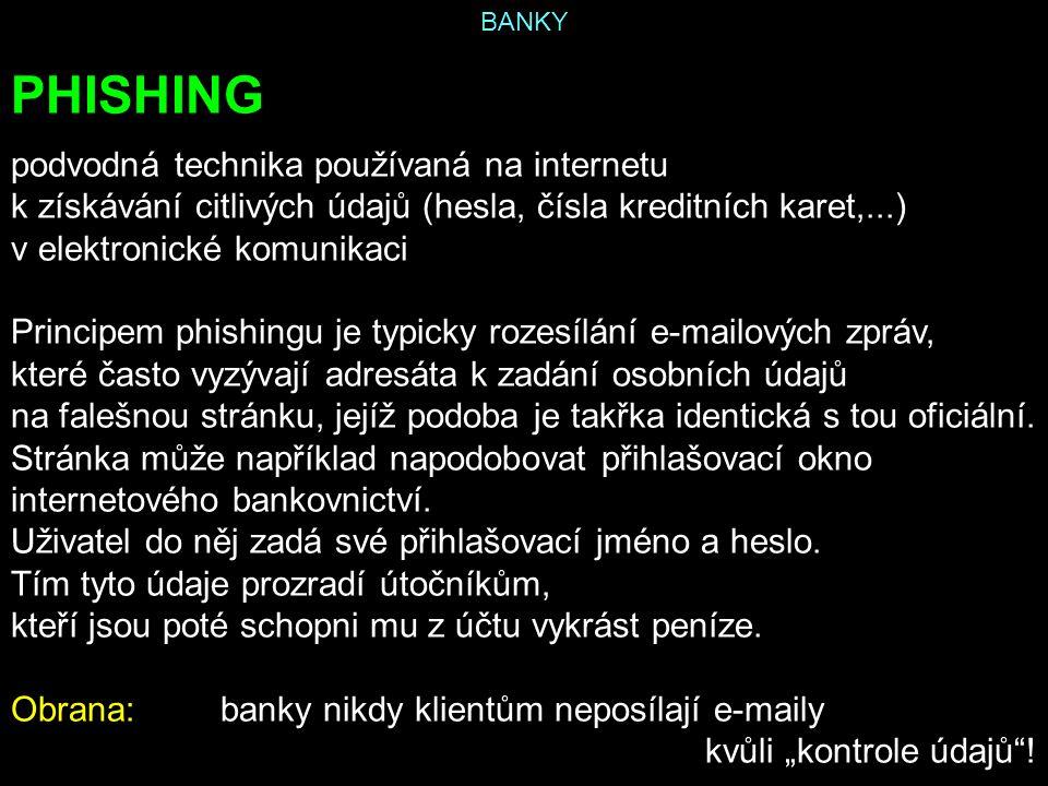 BANKY PHISHING podvodná technika používaná na internetu k získávání citlivých údajů (hesla, čísla kreditních karet,...) v elektronické komunikaci Prin