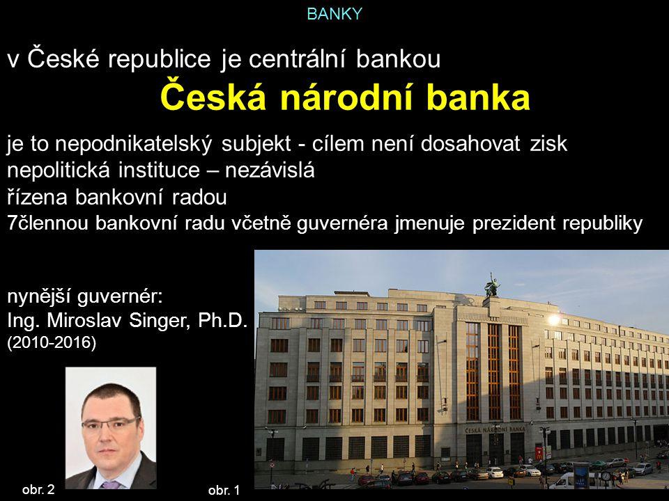 BANKY v České republice je centrální bankou Česká národní banka je to nepodnikatelský subjekt - cílem není dosahovat zisk nepolitická instituce – nezá