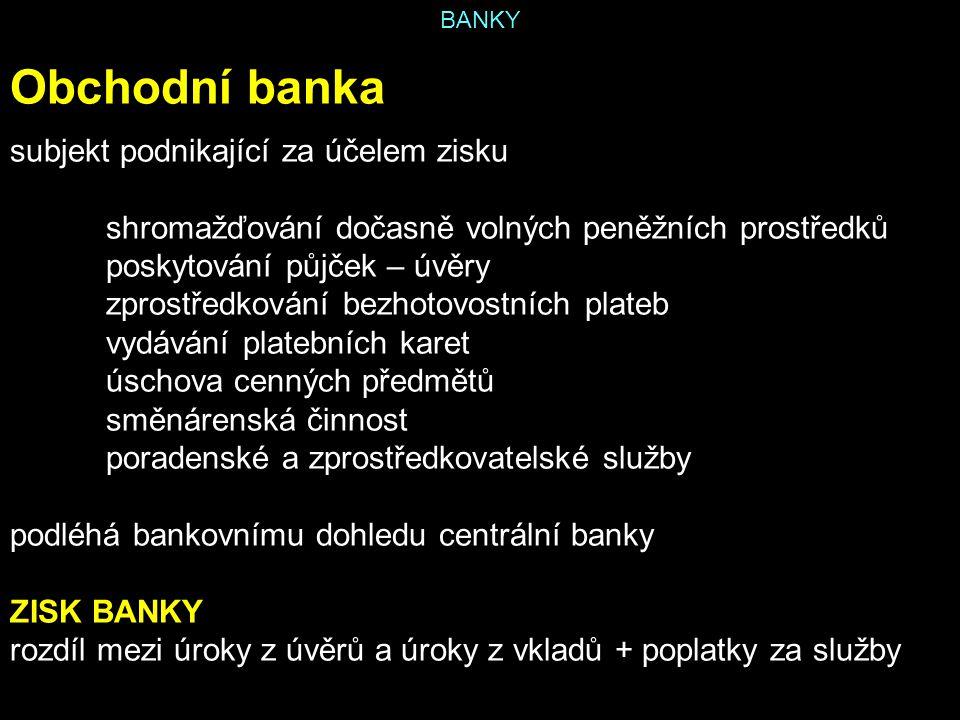 BANKY Obchodní banka subjekt podnikající za účelem zisku shromažďování dočasně volných peněžních prostředků poskytování půjček – úvěry zprostředkování