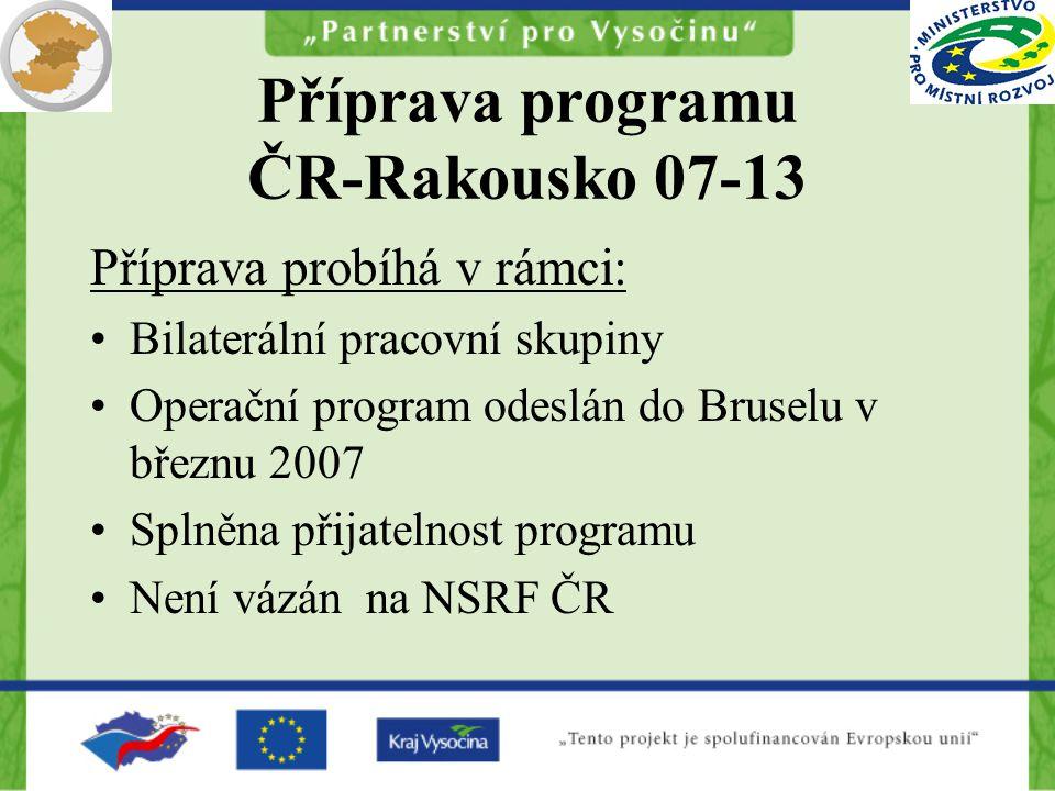 Příprava programu ČR-Rakousko 07-13 Příprava probíhá v rámci: Bilaterální pracovní skupiny Operační program odeslán do Bruselu v březnu 2007 Splněna přijatelnost programu Není vázán na NSRF ČR