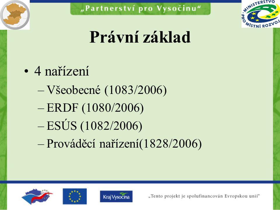 Právní základ 4 nařízení –Všeobecné (1083/2006) –ERDF (1080/2006) –ESÚS (1082/2006) –Prováděcí nařízení(1828/2006)