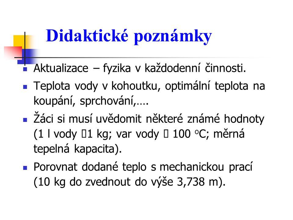 Didaktické poznámky Aktualizace – fyzika v každodenní činnosti.