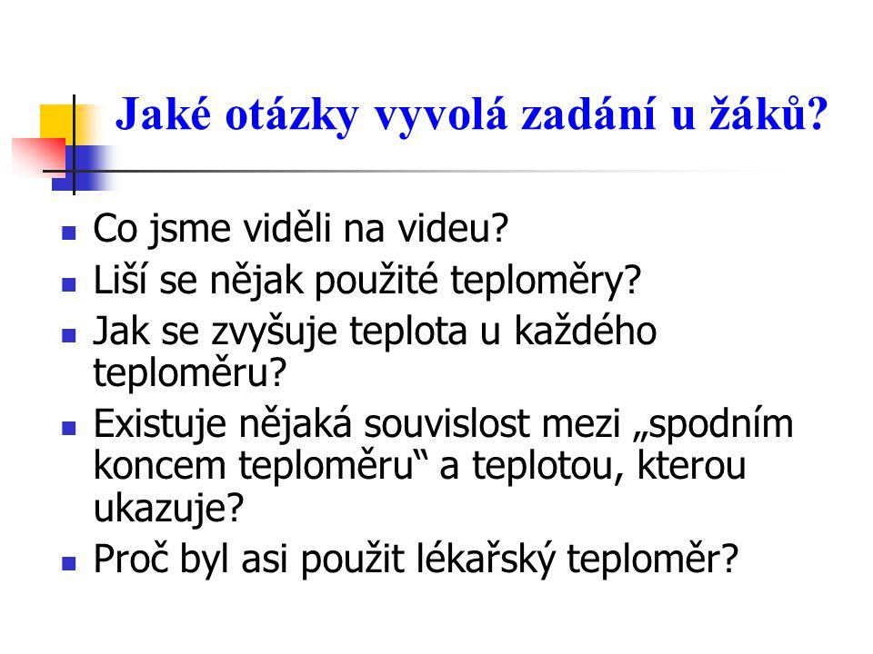 Jaké otázky vyvolá zadání u žáků. Co jsme viděli na videu.