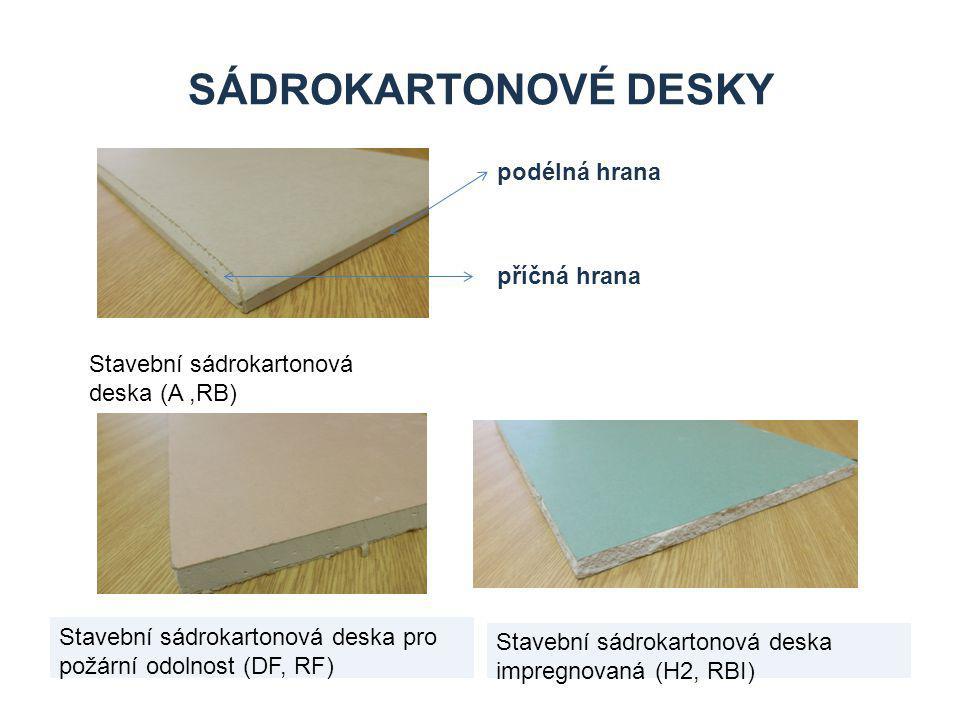 SÁDROKARTONOVÉ DESKY Stavební sádrokartonová deska pro požární odolnost (DF, RF) Stavební sádrokartonová deska impregnovaná (H2, RBI) Stavební sádrokartonová deska (A,RB) podélná hrana příčná hrana