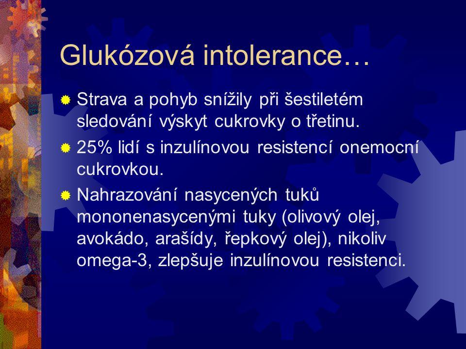 Glukózová intolerance  110-125 mg/dl hladina glukózy  KVO riziko stoupá nad 85 mg/dl  Riziko infarktu a mozkové mrtvice se zvyšuje již od 75 mg/dl