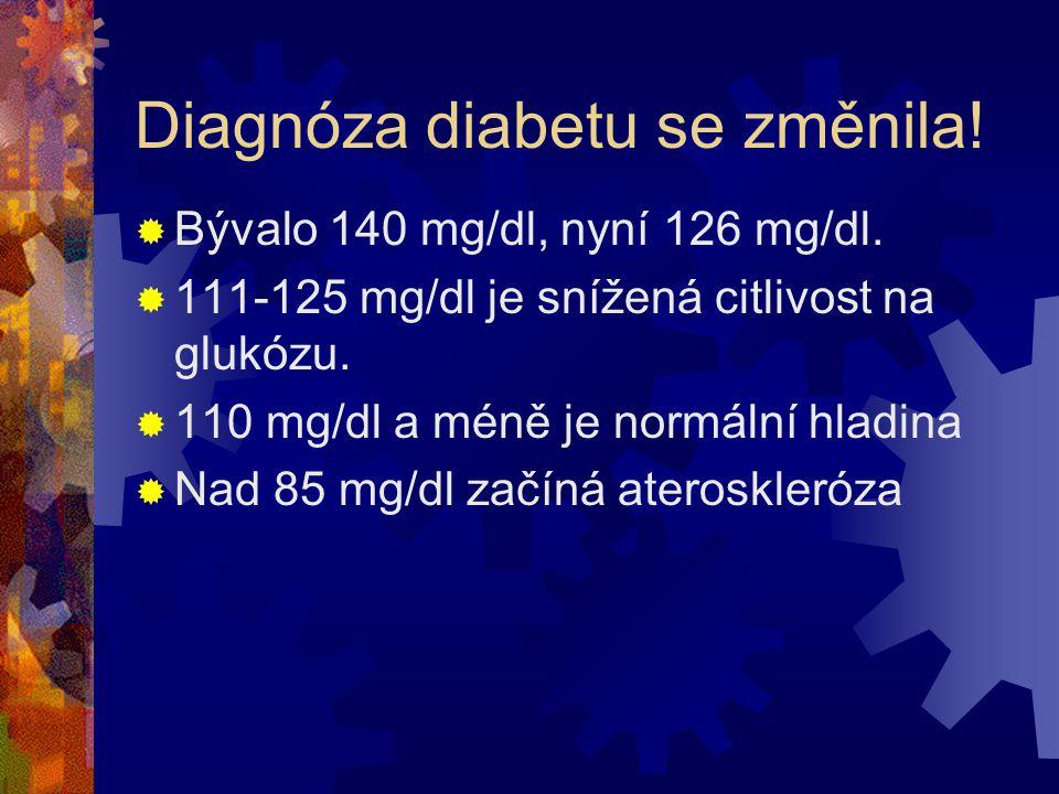 Glukózová intolerance  110-125 mg/dl hladina glukózy  KVO riziko stoupá nad 85 mg/dl  Riziko infarktu a mozkové mrtvice se zvyšuje již od 75 mg/dl  Ateroskleróza se rozvíjí 4-6 let před tím, než je diagnostikována cukrovka