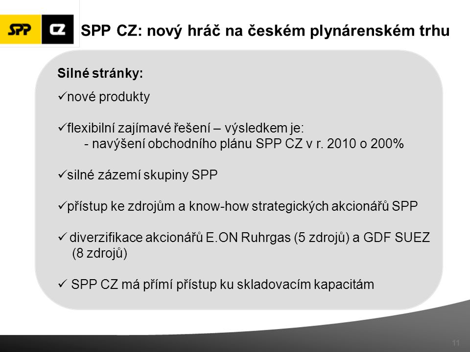 SPP CZ: nový hráč na českém plynárenském trhu Silné stránky: nové produkty flexibilní zajímavé řešení – výsledkem je: - navýšení obchodního plánu SPP CZ v r.