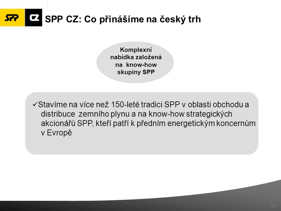Komplexní nabídka založená na know-how skupiny SPP 15 Stavíme na více než 150-leté tradici SPP v oblasti obchodu a distribuce zemního plynu a na know-how strategických akcionářů SPP, kteří patří k předním energetickým koncernům v Evropě SPP CZ: Co přinášíme na český trh