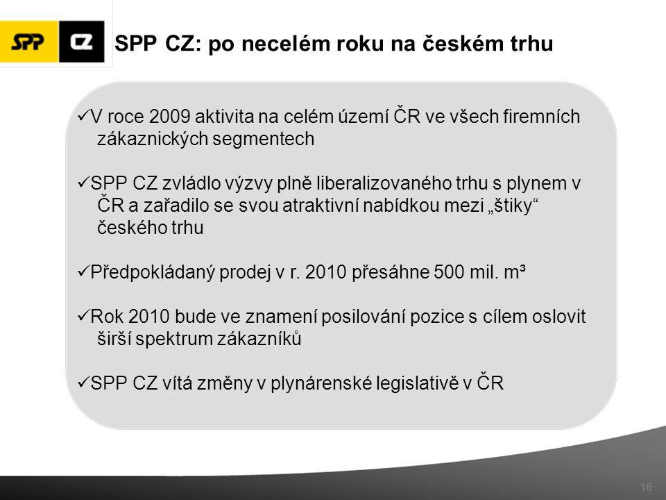 SPP CZ: po necelém roku na českém trhu V roce 2009 aktivita na celém území ČR ve všech firemních zákaznických segmentech SPP CZ zvládlo výzvy plně lib