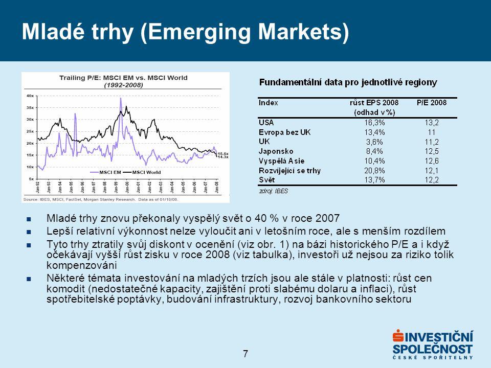 7 Mladé trhy (Emerging Markets) n Mladé trhy znovu překonaly vyspělý svět o 40 % v roce 2007 n Lepší relativní výkonnost nelze vyloučit ani v letošním roce, ale s menším rozdílem n Tyto trhy ztratily svůj diskont v ocenění (viz obr.