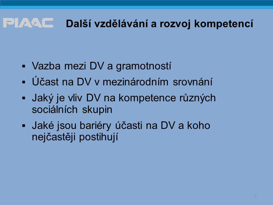  Vazba mezi DV a gramotností  Účast na DV v mezinárodním srovnání  Jaký je vliv DV na kompetence různých sociálních skupin  Jaké jsou bariéry účasti na DV a koho nejčastěji postihují 2