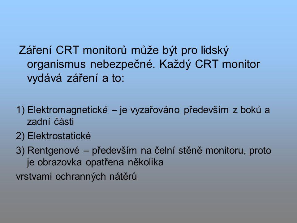 Záření CRT monitorů může být pro lidský organismus nebezpečné.