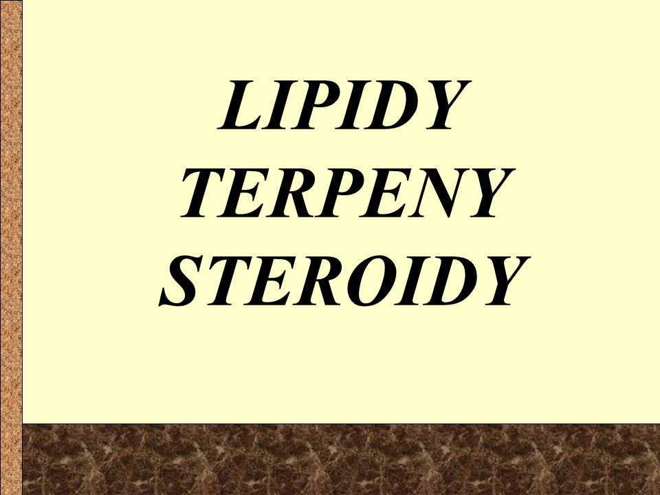 isoprenu odvozeny od isoprenu dělíme je podle počtu isoprenových jednotek: monoterpeny seskviterpeny diterpeny triterpeny tetraterpeny polyterpeny 23468n23468n 10 15 20 30 40 n menthol, kafr azuleny fytol, vit.