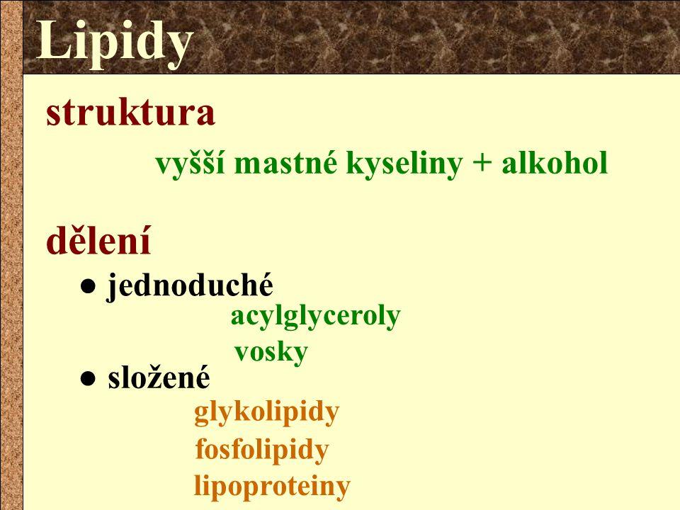 acylglyceroly vosky struktura vyšší mastné kyseliny + alkohol ● jednoduché ● složené dělení Lipidy glykolipidy fosfolipidy lipoproteiny