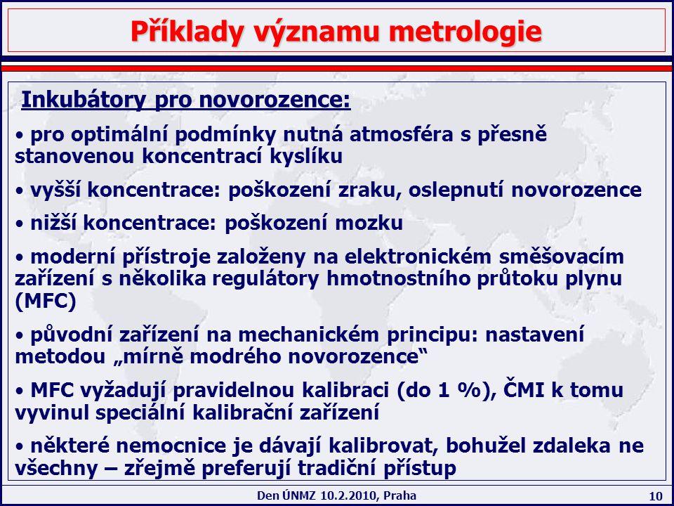 10 Den ÚNMZ 10.2.2010, Praha Příklady významu metrologie Inkubátory pro novorozence: pro optimální podmínky nutná atmosféra s přesně stanovenou koncen