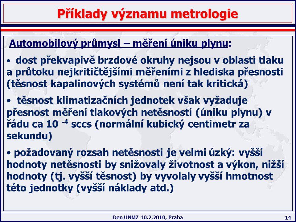 14 Den ÚNMZ 10.2.2010, Praha Příklady významu metrologie Automobilový průmysl – měření úniku plynu: dost překvapivě brzdové okruhy nejsou v oblasti tl
