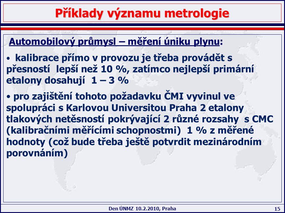 15 Den ÚNMZ 10.2.2010, Praha Příklady významu metrologie Automobilový průmysl – měření úniku plynu: kalibrace přímo v provozu je třeba provádět s přes