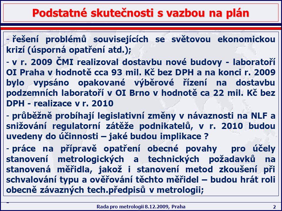 2 Rada pro metrologii 8.12.2009, Praha Podstatné skutečnosti s vazbou na plán - řešení problémů souvisejících se světovou ekonomickou krizí (úsporná o