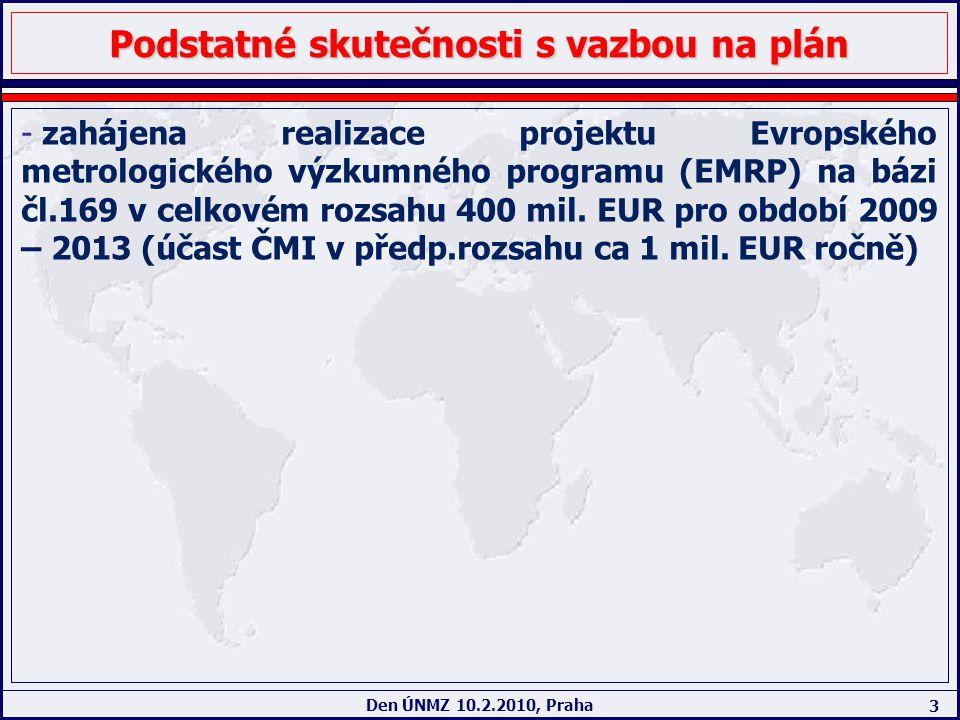 3 Den ÚNMZ 10.2.2010, Praha Podstatné skutečnosti s vazbou na plán - zahájena realizace projektu Evropského metrologického výzkumného programu (EMRP)