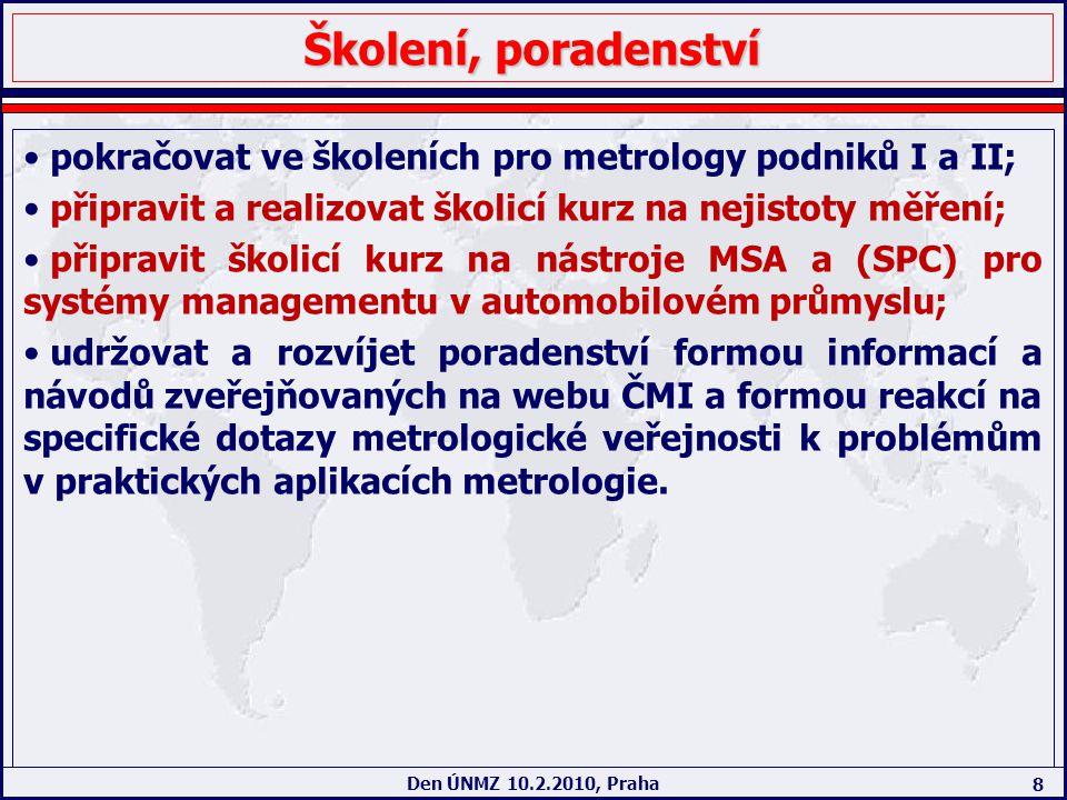 8 Den ÚNMZ 10.2.2010, Praha Školení, poradenství pokračovat ve školeních pro metrology podniků I a II; připravit a realizovat školicí kurz na nejistot