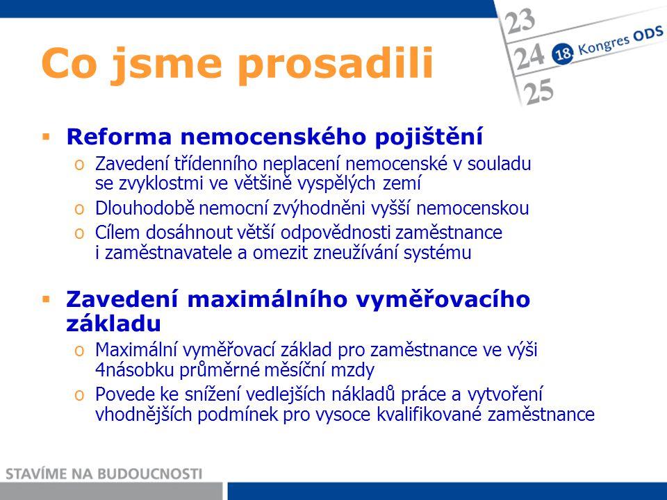 Co chceme dále prosadit  Důchodová reforma oZákladním důvodem je demografický vývoj způsobený pozitivním zjištěním, že je v ČR jeden z nejdynamičtějších růstů střední délky života v celé Evropě  I.