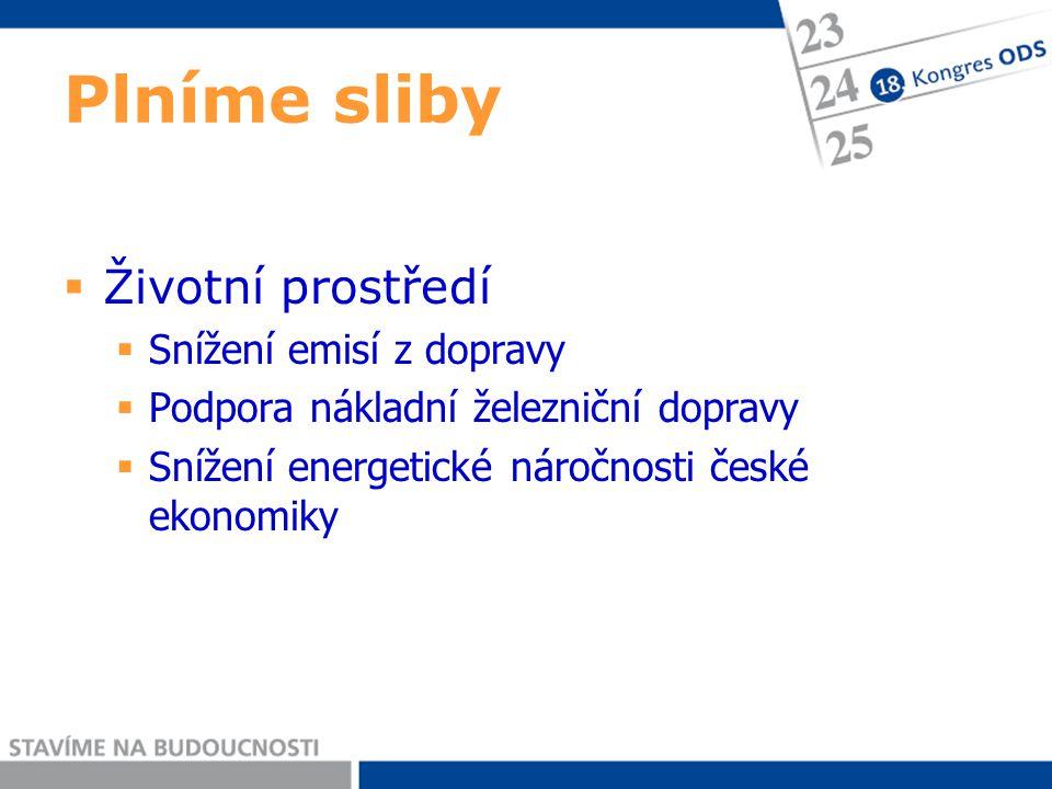 Plníme sliby  Životní prostředí  Snížení emisí z dopravy  Podpora nákladní železniční dopravy  Snížení energetické náročnosti české ekonomiky