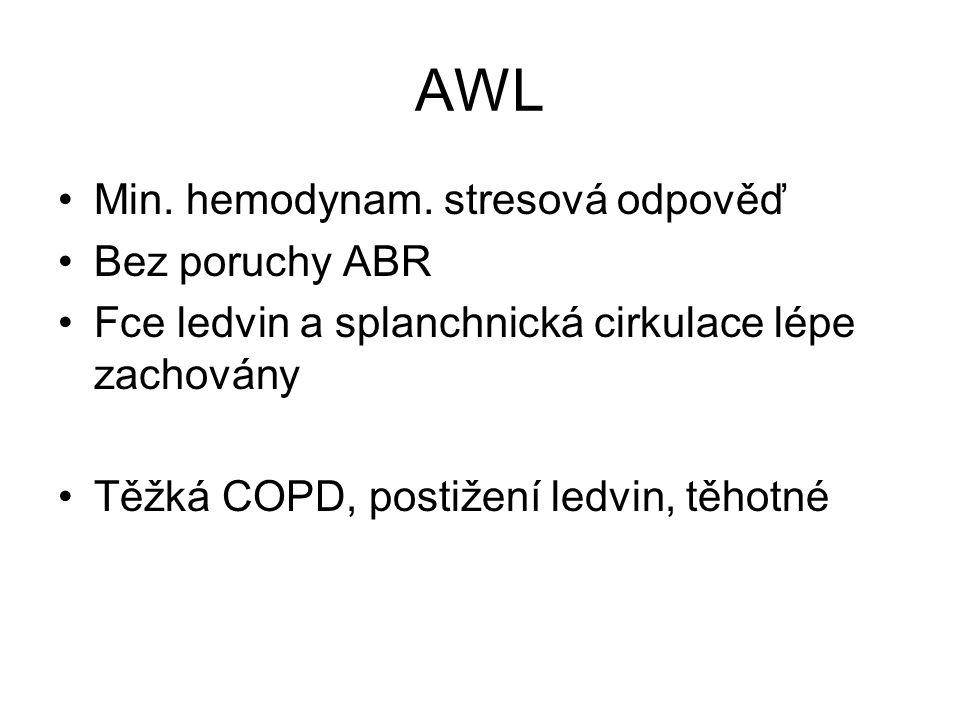 AWL Min. hemodynam. stresová odpověď Bez poruchy ABR Fce ledvin a splanchnická cirkulace lépe zachovány Těžká COPD, postižení ledvin, těhotné