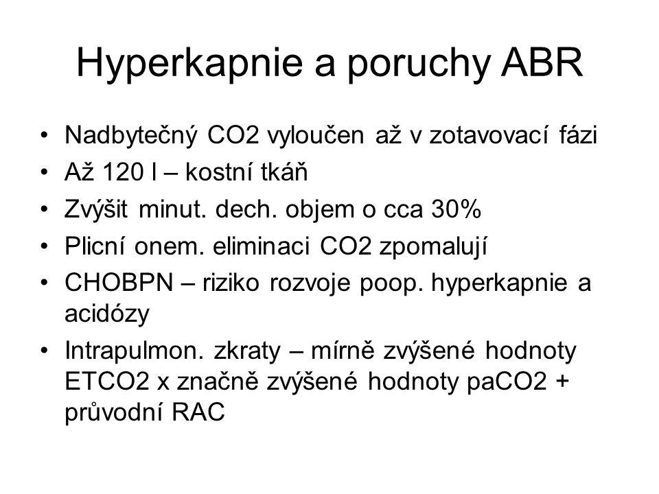 Hyperkapnie a poruchy ABR Nadbytečný CO2 vyloučen až v zotavovací fázi Až 120 l – kostní tkáň Zvýšit minut. dech. objem o cca 30% Plicní onem. elimina