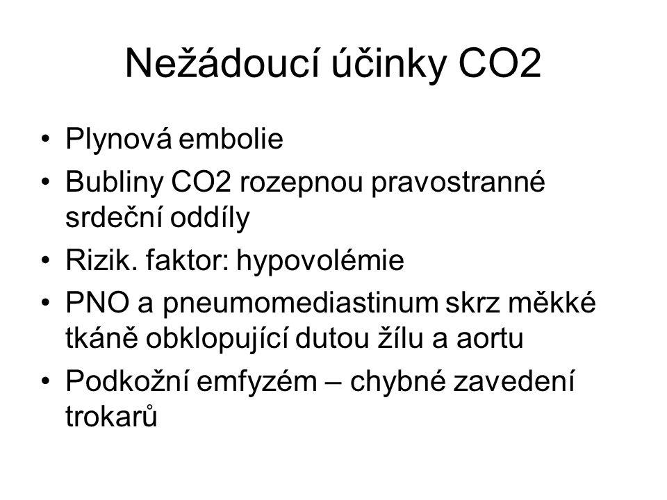 Nežádoucí účinky CO2 Plynová embolie Bubliny CO2 rozepnou pravostranné srdeční oddíly Rizik. faktor: hypovolémie PNO a pneumomediastinum skrz měkké tk
