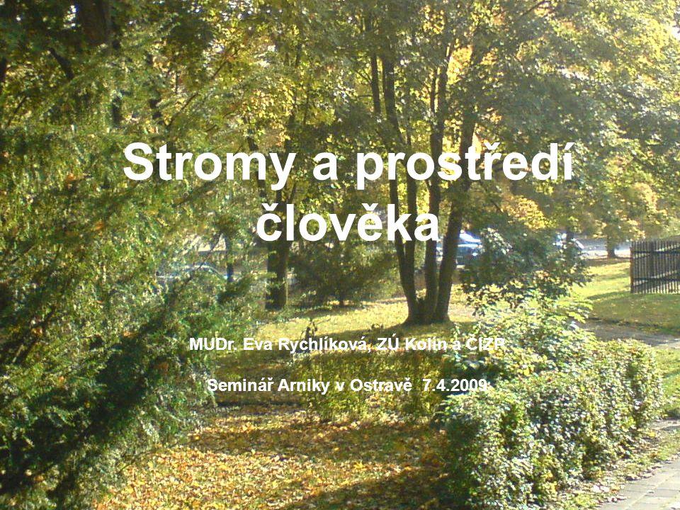 Stromy a prostředí člověka MUDr. Eva Rychlíková, ZÚ Kolín a ČIZP Seminář Arniky v Ostravě 7.4.2009