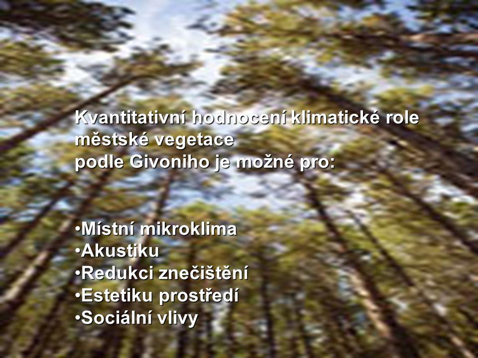 Kvantitativní hodnocení klimatické role městské vegetace podle Givoniho je možné pro: Místní mikroklimaMístní mikroklima AkustikuAkustiku Redukci znečištěníRedukci znečištění Estetiku prostředíEstetiku prostředí Sociální vlivySociální vlivy