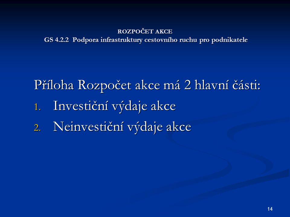 14 ROZPOČET AKCE GS 4.2.2 Podpora infrastruktury cestovního ruchu pro podnikatele Příloha Rozpočet akce má 2 hlavní části: 1. Investiční výdaje akce 2