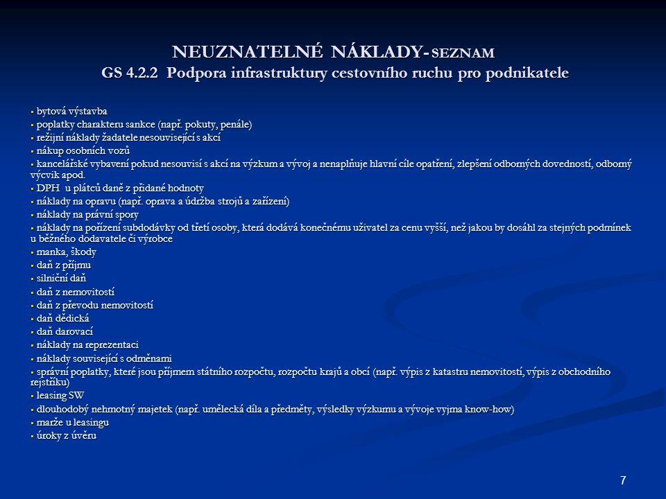 7 NEUZNATELNÉ NÁKLADY- SEZNAM GS 4.2.2 Podpora infrastruktury cestovního ruchu pro podnikatele  bytová výstavba  poplatky charakteru sankce (např. p