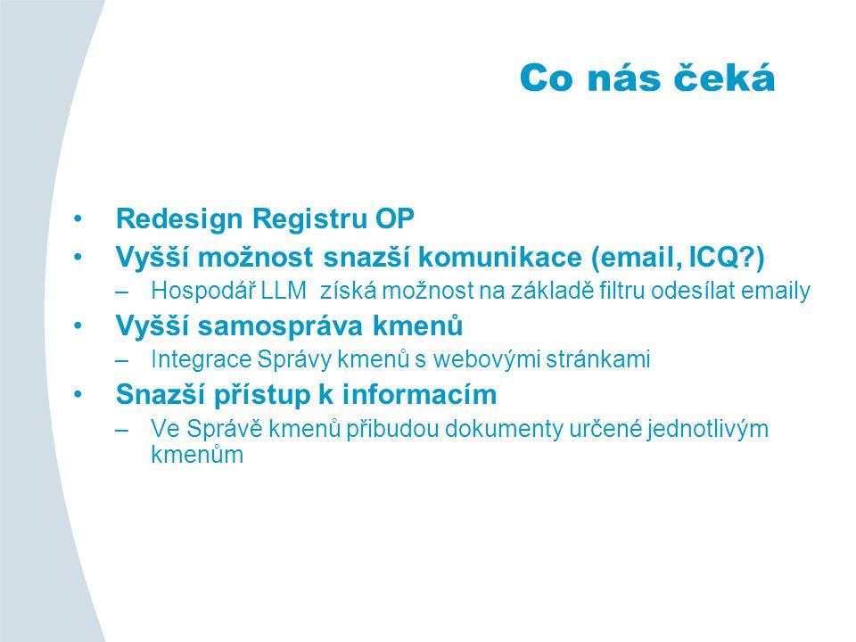 Redesign Registru OP Vyšší možnost snazší komunikace (email, ICQ ) –Hospodář LLM získá možnost na základě filtru odesílat emaily Vyšší samospráva kmenů –Integrace Správy kmenů s webovými stránkami Snazší přístup k informacím –Ve Správě kmenů přibudou dokumenty určené jednotlivým kmenům Co nás čeká