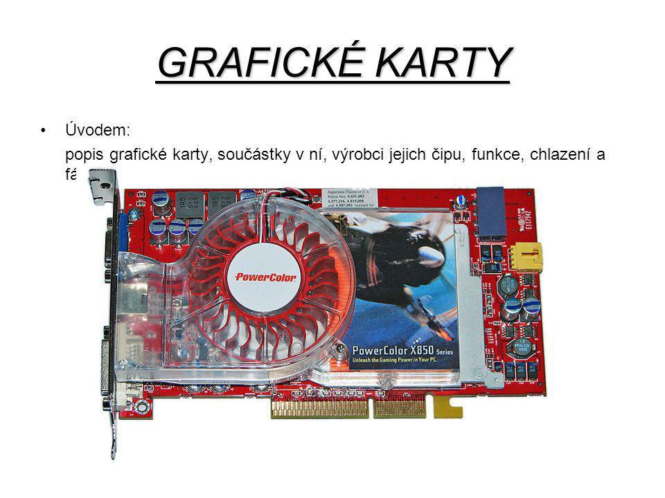 GRAFICKÉ KARTY Úvodem: popis grafické karty, součástky v ní, výrobci jejich čipu, funkce, chlazení a fámy.